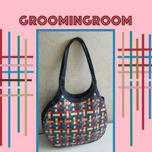 Handbags - Multi colored woven leather+denim handbag Japan